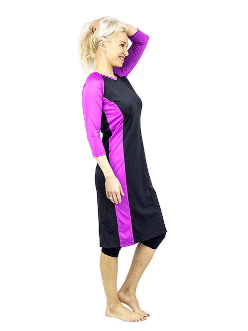 בגד ים וספורט צנוע סט טוניקה ארוכה שחור סגול סט 4 חלקים