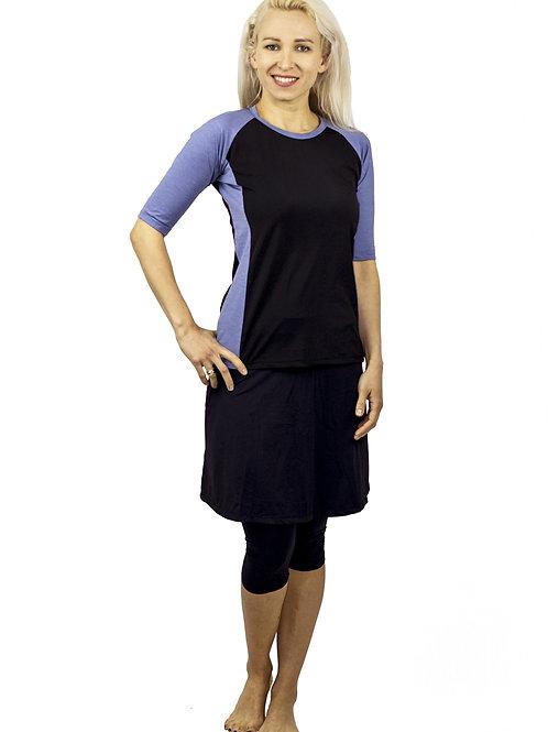 סט בגד ים צנוע 5 חלקים חולצת שחור-ג'ינס עם טייץ-חצאית
