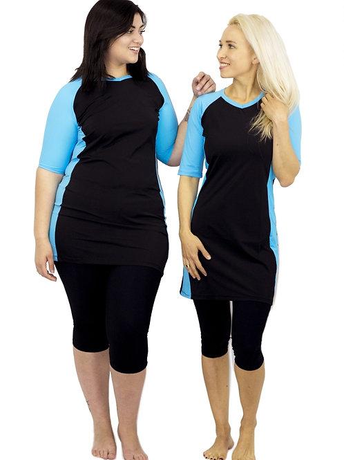 4 Piece Modest Short Tunic Set - Black and Light Blue