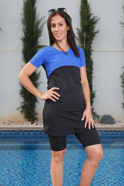 סט 5 חלקים טייץ חצאית קצרה וחולצה עליון צבעוני