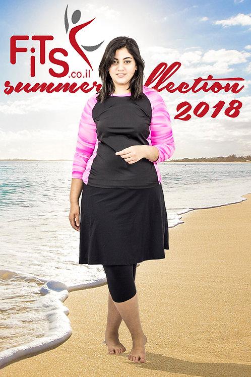 סט בגד ים צנוע 5 חלקים חולצה עם טייץ-חצאית ברך שחור עם ורוד מודפס