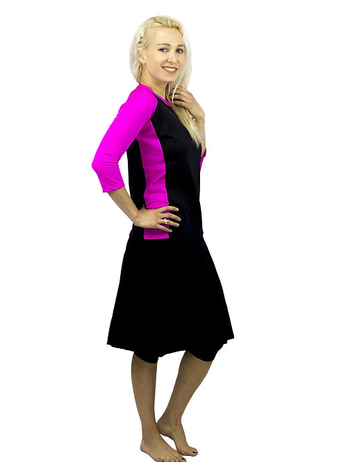 סט בגד ים צנוע 5 חלקים חולצה עם טייץ-חצאית ברך או מתחת לברך שחור ורוד