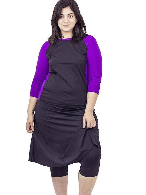 סט בגד ים צנוע 5 חלקים חולצה עם טייץ-חצאית ברך שחור עם סגול