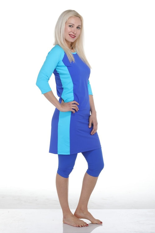 4 Piece Above the Knee Modest Tunic Swim Set - Blue & Turquoise