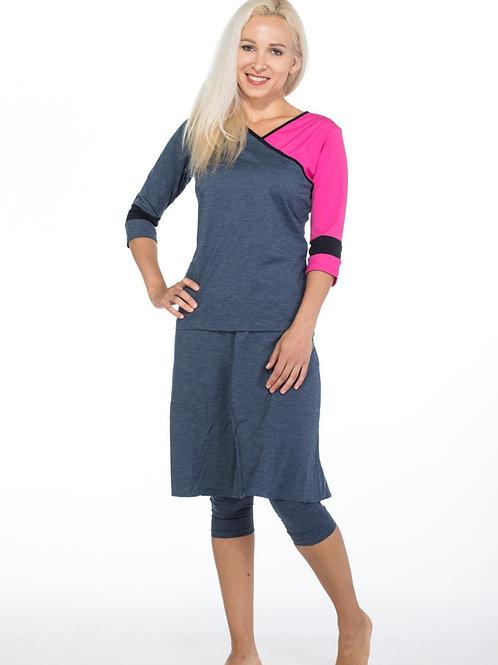 Modest Swim & Sport Set ASYMMETRIC Jeans with Pink