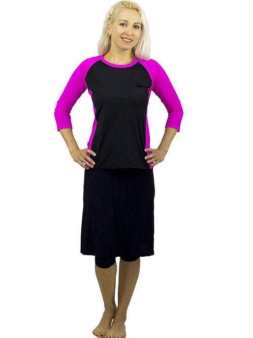 סט בגד ים צנוע 5 חלקים חולצה עם טייץ-חצאית ברך שחור עם ורוד