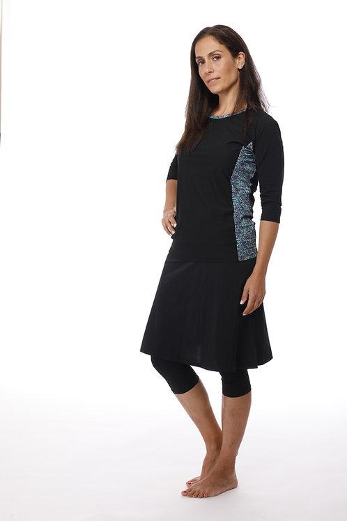 סט 5 חלקים טייץ חצאית וחולצה בשילוב הדפס צבעוני