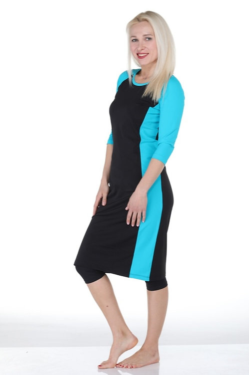 4 Piece Long Modest Tunic Swim Set - Black & Turquoise