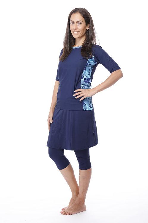 סט 5 חלקים חולצה כחולה בשילוב מודפס עם טייץ-חצאית