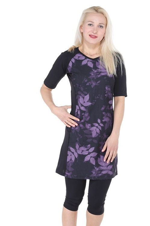4 Piece Short Tunic Set - Black and Purple flowers