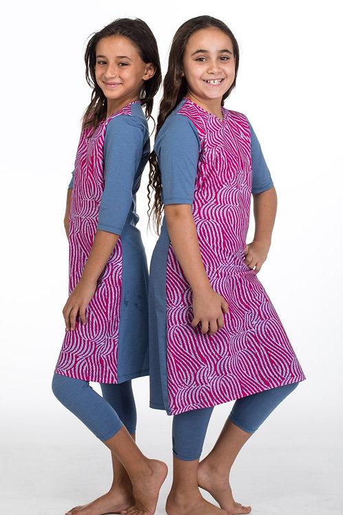 סט בגד ים צנוע לנערות 3 חלקים טוניקה עם טייץ וורוד וג'ינס