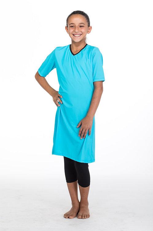 סט בגד ים צנוע 3 חלקים לנערות טוניקה עם טייץ תכלת שחור