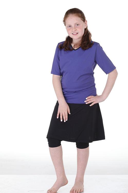 סט שלושה חלקים חולצה סגולה עם טייץ- חצאית לנערות