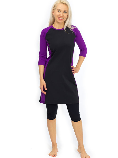 4 Piece Modest Tunic Set - Black and Purple