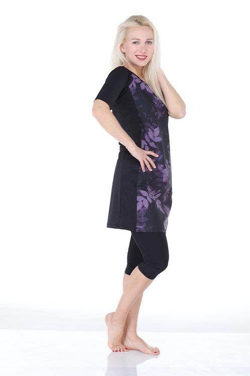 סט בגד ים צנוע לנשים 4 חלקים טוניקה קצרה צווארון וי שחור ופרחוני