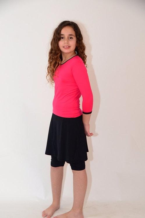 סט שלושה חלקים חולצה עם טייץ- חצאית לנערות