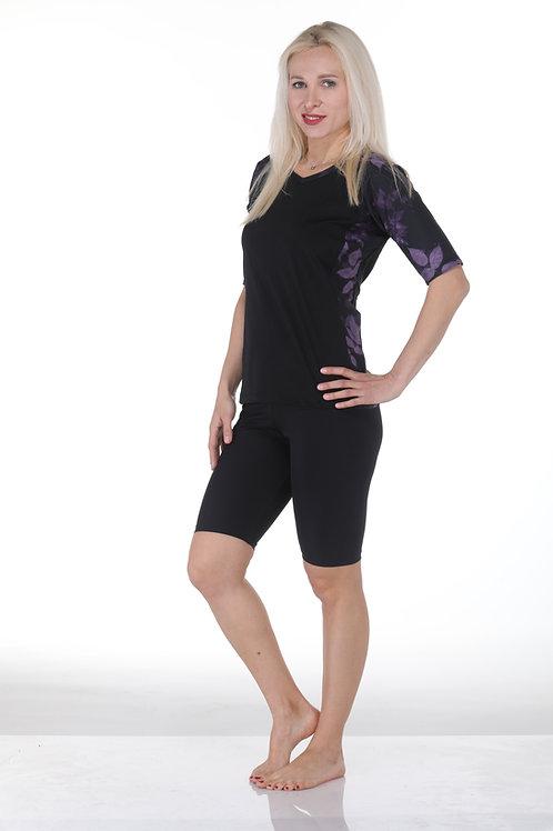 סט בגד ים 4 חלקים חולצת שחור-פרחוני עם טייץ חצי
