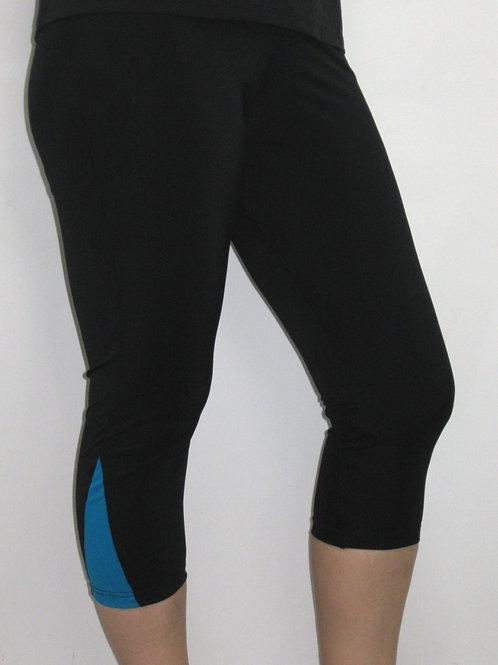 Swim & Sport Tights- 3/4 Length Black & Turquoise