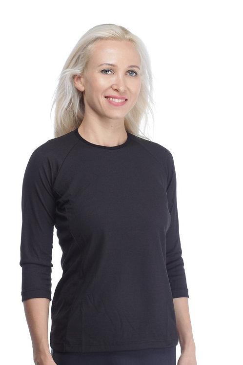 חולצת דרייפיט שרוול 3/4 שחורה לספורט