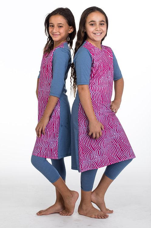 סט בגד ים צנוע 3 חלקים טוניקה עם טייץ וורוד וג'ינס לנערות