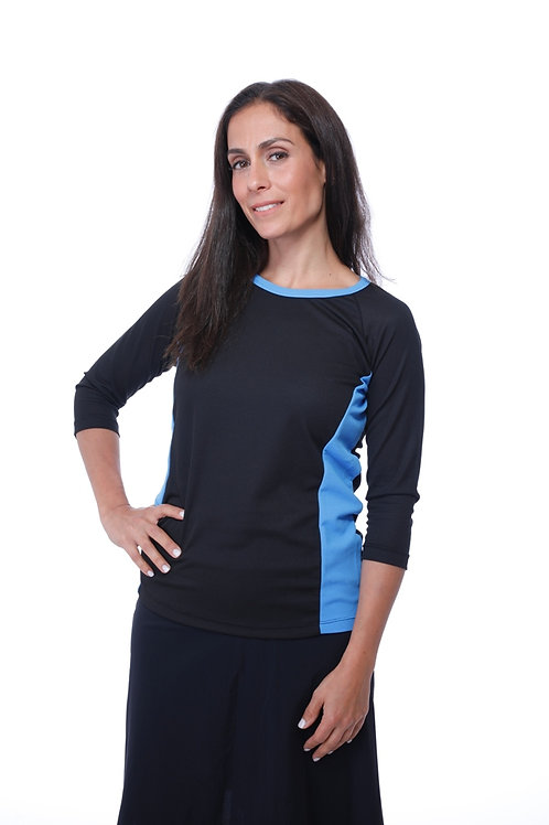 Two Dri-Fit Sports Shirts Black and Black with Light Blue 3/4 Length Sleeves