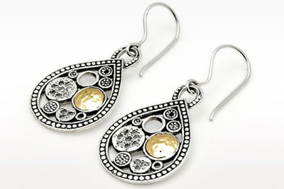 Circle And Pear Shape Motif Dangle Earrings