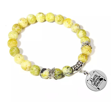 YELLOW GREENISH TURQUOISE BEADS BRACELET