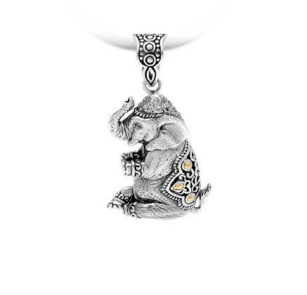 Lucky Elephant Silver/Gold Pendant