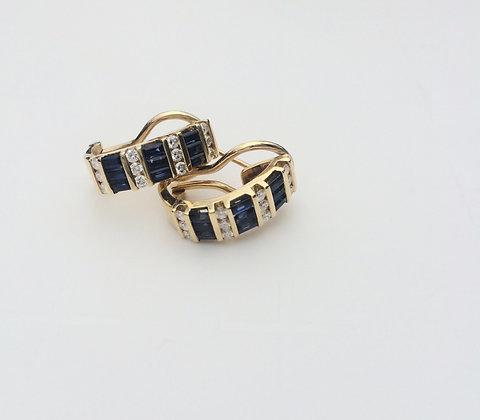 Sapphire diamond earrings 18K yellow gold