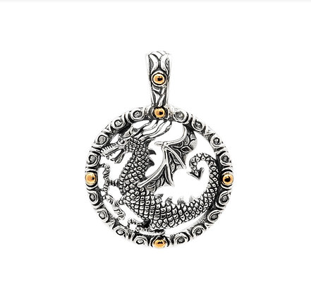 SILVER AND GOLD ROUND DRAGON PENDANT