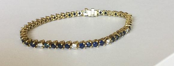 Sapphire-diamond tennis bracelet 18K yellow gold
