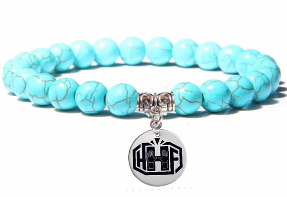 TURQUOISE BEADS WITH HHF CHARM