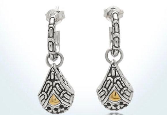 Silver/Gold Black Sapphire Dangle Earrings