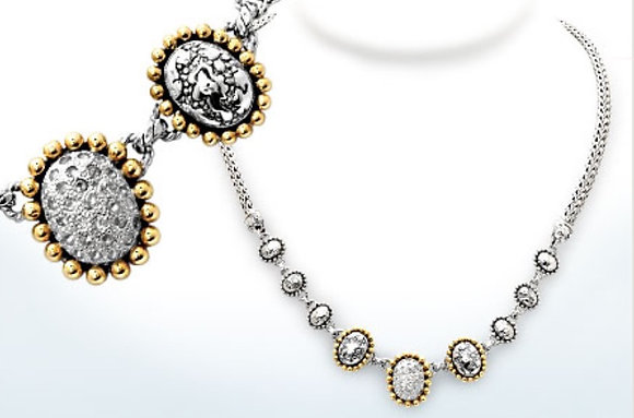 Plaster Texture White Topaz 9 Oval  Necklace