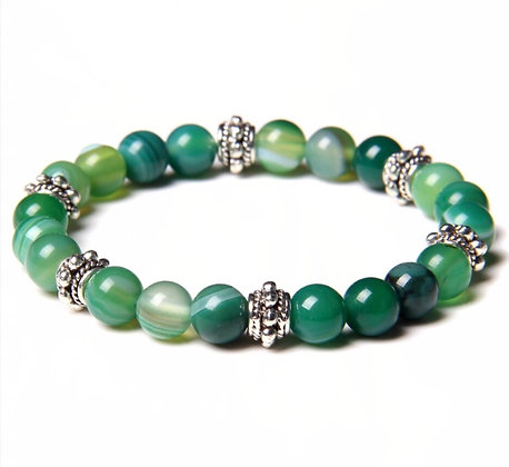 LIGHT GREEN AGATE  BEADS  BRACELET