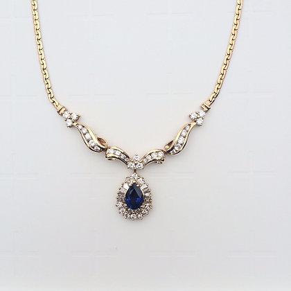 Sapphire diamond necklace 18K yellow gold