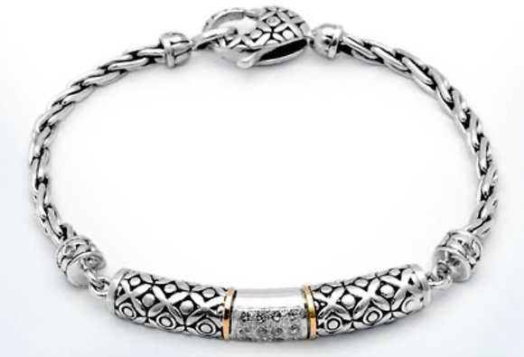 Silver/Gold Chain White Topaz Bracelet