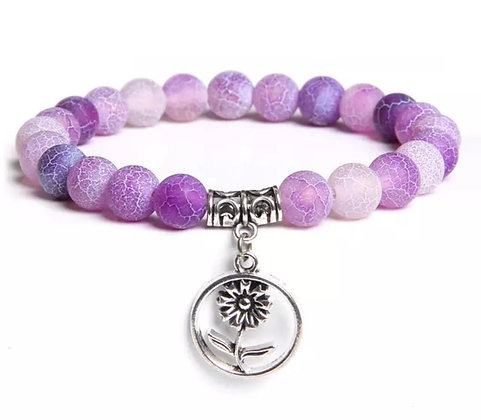 PURPLE AGATE BEADS BRACELET WITH CHARM