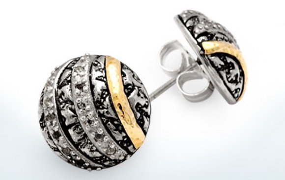 Plaster Texture White Topaz Button Earrings