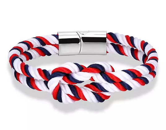 MAGNET BRACELET INTERTWINE-RED WHITE BLUE