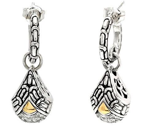 Silver/Gold White Topaz Dangle Earrings