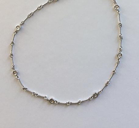 Station diamond bezel necklace