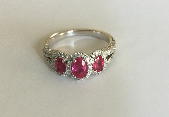 Ruby ring with halo diamond