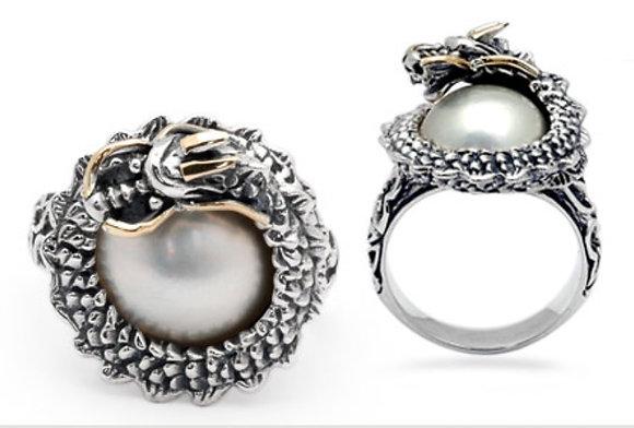Dragon Ring White Mabe Ring