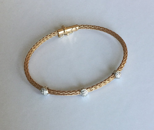 Rose gold station diamond bracelet