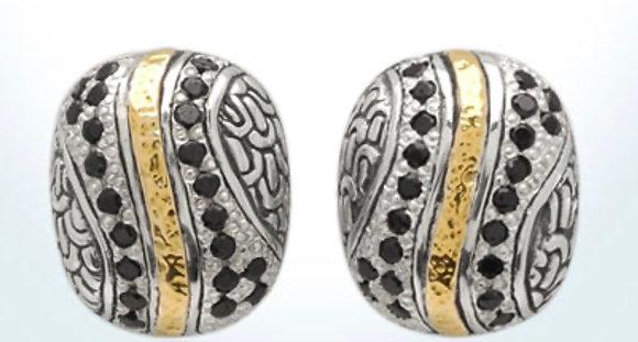 Silver/Gold Black Sapphire Earrings