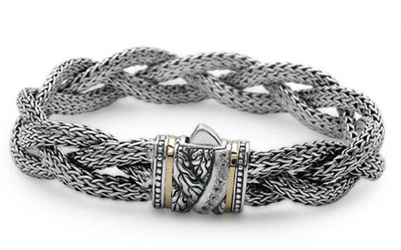 Dragon Bone Braided White Topaz Bracelet