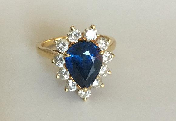 pear shape sapphire-diamond ring 18K yellow gold