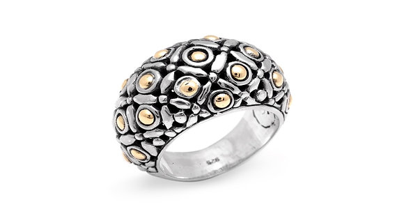 Ring, Silver/Gold, Dots Design