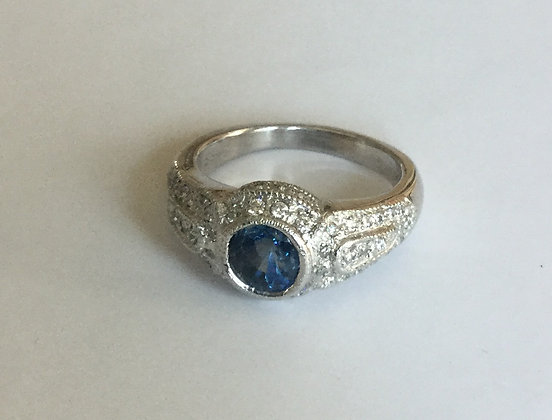 Platinum treated blue diamond ring